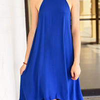 A Time To Be Bold Swing Dress - Royal Blue