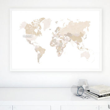 "36x24"" Printable world map with countries and names, distressed vintage, diy travel pinboard, neutrals, earth colors, cream  - map 138 015"