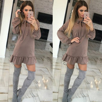 Slim Long Sleeve Winter Mini Ruffle One Piece Dress [9307406276]