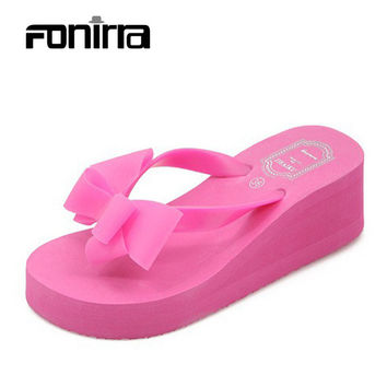 2017 Women Sandals Shoes Sapato Feminino Bownot Wedge Flip Flops Fashion Beach Women Slipper Shoes Sandalias Mujer 124