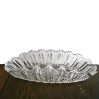 Vintage Cut Crystal Dish Glass Fluted Edge and Starburst Cut Crystal Oval Design 1930s Candy Dish Sawtooth Edge