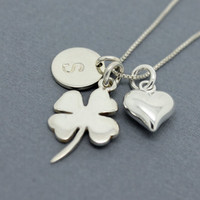 Shamrock necklace Sterling Silver initial charm, St Patrick's day gift, good luck of the Irish gifts, personalized Birthday gift for her