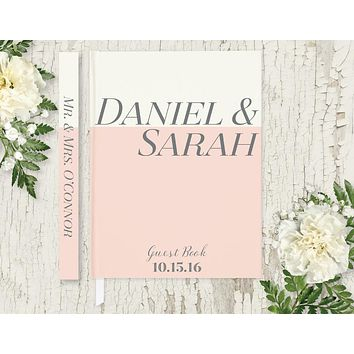 Wedding Guest Book, Hardcover, Blush Pink and Ivory, Choice of Colors and Sizes