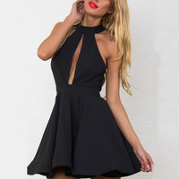 Sleeveless Cut-Out Skater Mini Dress