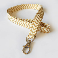 Chevron Lanyard / Gold / Boho Keychain / Bohemian / Key Lanyard / ID Badge Holder / Pretty Lanyards / Bohemian / Teacher
