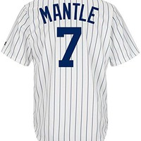 Majestic Micky Mantle Cool Base Pinstripe Cooperstown Tackle Twill Jersey