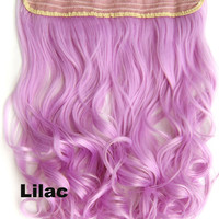 Lilac Ombre Colorful Candy Clip in Hair Extensions 1Weft=5pcs Body Wave Texture Hair Synthetic Hair Extension, High Quality Wig U pick