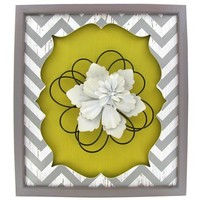 Yellow, White & Gray Chevron Plaque with Flower | Shop Hobby Lobby