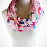 Cozy by LuLu - Spring Night Carousel Infinity Scarf in Pink