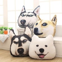 Creative 3D Cute Dog Pillow Alaska Husky Plush Toy Big Dog Head Pillow  Bedroom Home Decoration Hand Warm Pillow