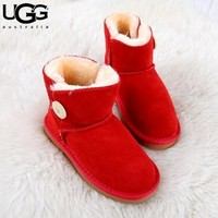 UGG fashionable men's and women's UGG boots cowhide scrub cotton boots low boot flat heels