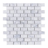 Small Brick Mosaic Bianco Carrara Marble Polished