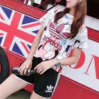 """Adidas"" Women Casual Fashion Multicolor Letter Logo Print Short Sleeve Stripe Shorts Set Two-Piece Sportswear"