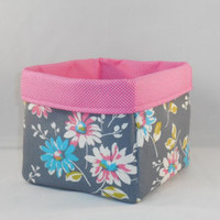 Retro Gray, Pink and Blue Floral Fabric With Pink Polka Dot Liner For Storage Or Gift Giving - Edit Listing - Etsy
