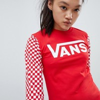 Vans Exclusive Red Sporty Heritage Long Sleeve T-Shirt at asos.com