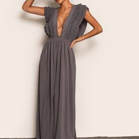 Joyfunear Plunging Neck Tie Back Pleated Ruffle Armhole Dress