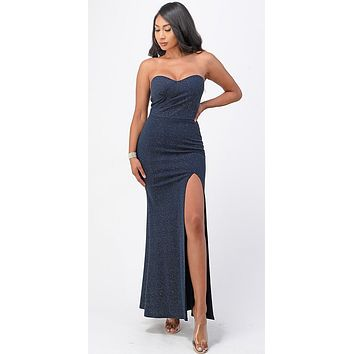 Long Fitted Sheath Navy Blue Party Dress Strapless With Slit