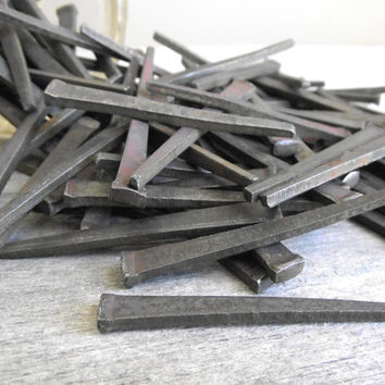 Square Cut Nails / Vintage Iron Nails / Industrial / Set of 12 / Steampunk Assemblage Art  / Rustic Country Home Decor /  Vintage Supplies