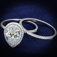 Silver Rings For Women TS466 Rhodium 925 Sterling Silver Ring with CZ