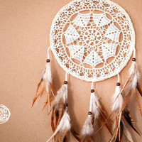 Dream Catcher - Star of Spring - Unique Dream Catcher with White Crochet Web and Natural Feathers - Wedding Decoration, Nursery Decor