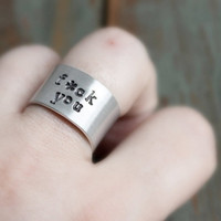 Fcuk You Ring aluminum adjustable funny hand stamped mens womens unisex gag gift