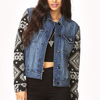 FOREVER 21 Globetrotter Denim Jacket Medium Denim/Black Small