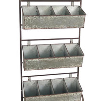Vintage Garden & Flower Shopkeepers 12 Slot Galvanized Storage with Chalkboard Display