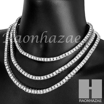 Silver Tennis Choker Necklace 1 Row Solitaire Lab Diamond 4.5mm Chain S