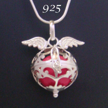 Angel Caller Sterling Silver Harmony Ball, Bola Necklace, with Angel Wings on th