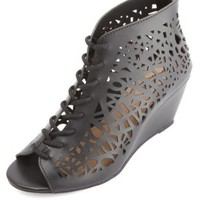 Laser-Cut Lace-Up Wedge Sandals by Charlotte Russe - Black