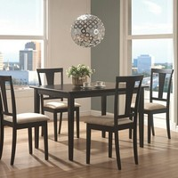 5 pc Geary collection black finish wood dining table set with fabric padded seats
