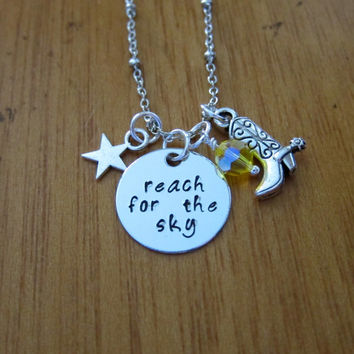 """Disney's """"Toy Story"""" Inspired Necklace. Sheriff Woody """"Reach for the Sky"""". Swarovski crystal, for women or girls."""