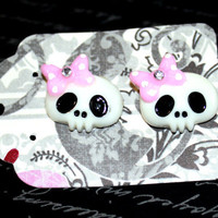 White Skull with Pink Rhinestone Bow Stud Earrings - Pinup Rockabilly Accessory