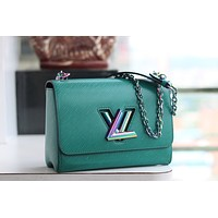 HCXX 1975 Louis Vuitton LV Twist Denim Chain Handbag Fashion Shoulder Green