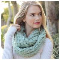 Beautiful Popcorn Weave Mint Infinity Scarf, Cowl