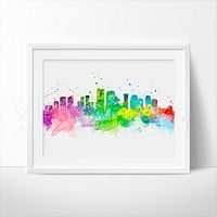 New Orleans Skyline Watercolor Art Print