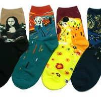World Famous Painting Art Socks 4 Pair Color Funny Novelty Mona Lisa The Scream