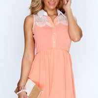 Peach Embellished Lace A-Line Casual Dress
