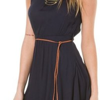 VINTAGE HAVANA SLEEVELESS BELTED DRESS | Swell.com
