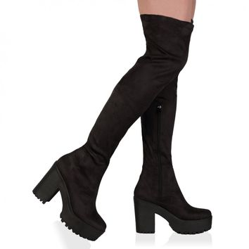 Amie Black Faux Suede Over The Knee Chunky Boots