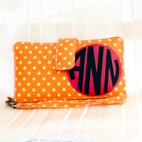 MONOGRAMMED IPHONE WALLET Orange Yellow Polka Dot Personalized iPhone Wallet Phone Purse for iPhone 4 4s 5 5s 5c Samsung S3 S4 Note 1 2 3