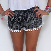 Geo Dot Print Trimmed Shorts with Pom Decor