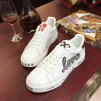 D&G Dolce & Gabbana Women's Leather Fashion Sneakers Shoes
