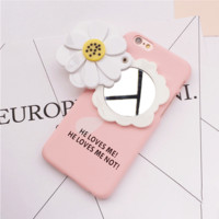 Pink daisy mirror mobile phone case for iPhone 6 6s + Nice gift box!
