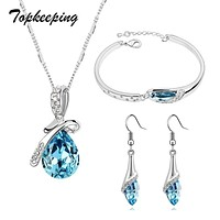 Topkeeping Brand Girls Crystal Jewelry Sets Pendants & Necklaces Stud Earring Bracelet Bangles Chain Fashion Jewelry For Women