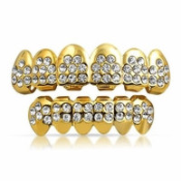 Iced Out Cz Gold Plated Grillz Set