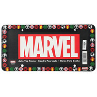 The Punisher Spider-Man Captain America Iron Man and The Incredible Hulk Logos Marvel Comics Auto Car Truck SUV Vehicle Universal-fit License Plate Frame - Plastic - SINGLE
