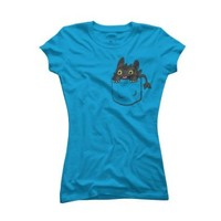 Pocket Toothless Women's Small Turquoise Stone Graphic T Shirt