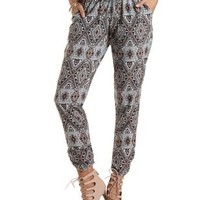 Tribal Print Drawstring Jogger Pants by Charlotte Russe