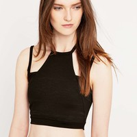 Sparkle & Fade Cut Out Black Shoulder Top - Urban Outfitters